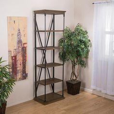 Buy Brennon 5-Shelf Industrial Dark Khaki Wood Bookshelf by GDFStudio on Dot & Bo