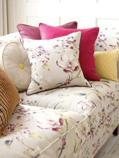 Swaffer Gallery collection featuring three traditionally inspired British prints Whitworth, Bowes and Hayward, a stripe velvet Coombe and shabby chic weave Purbeck Panel Blinds, Fabric Blinds, Fabric Sofa, Sofa Upholstery, Diy Beauty Room Decor, Beautiful Curtains, Curtain Designs, Soft Furnishings, Pillows