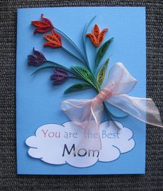 Paper Quilled  Sweet  Happy Birthday and Mothers day card with flower  for mom or Dad. $6.99, via Etsy.