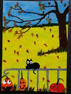 Aceo original painting black cats halloween fence pumpkin #OutsiderArt