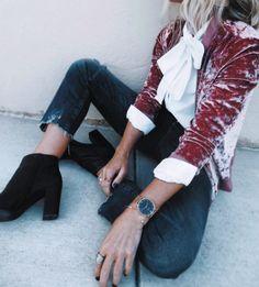 velvet + bow blouse + denim