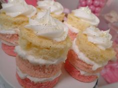 Ombre mini stack cakes at a pink and gold Minnie Mouse birthday party! See more party planning ideas at CatchMyParty.com!
