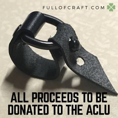 Black Leather Ring Size 8 or 10 (Adjustable) - ALL PROFITS donated to the ACLU by Fullofcraft on Etsy