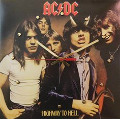 """Record Cover Wall Clock - AC/DC (Highway To Hell). Handmade 12"""" wall clock made with the original AC/DC record cover. This 12"""" x 12"""" wall clock is handmade by us using the original AC/DC album cover """"Highway To Hell"""". The entire cover is used, including it's back. It is battery powered with an American made quartz clock movement. The hour markers, hour, and minute hand are shiny metallic gold and the second hand is bright red. Simply place a nail in the wall and the record clock is ready…"""