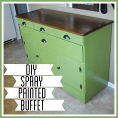 Spray Painted Refinished Green Buffet