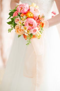 Blush and Citrus Summer Inspiration #bouquets