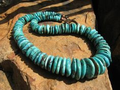 Graduated Disk Turquoise Necklace sterling silver by fleurdesignz