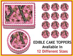 MOSSY OAK CAMOUFLAGE Pink Camo  Edible Cake by EdibleImageDesigns, $8.25