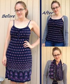 Dress to Cami and Scarf Refashion by CarissaKnits