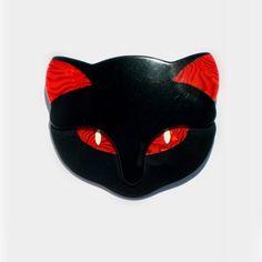 Lea Stein BACCHUS Cat's head brooch by ArtDecoratif on Etsy