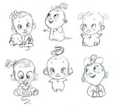 New Baby Face Drawing Simple Ideas Baby Face Drawing, Baby Cartoon Drawing, Cartoon Faces, Cartoon Drawings, Easy Drawings, Character Art, Character Design, Pregnant Belly Painting, Baby Sketch