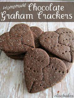 Homemade Chocolate Graham Crackers via elisebakes