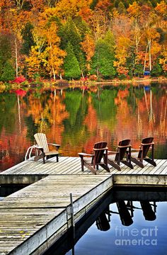 ✯ Wooden Dock on Autumn Lake