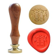 UNIQOOO Chinese Character Curlicue Double Happiness Wax Sealing Stamp Wedding Invitation