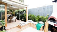 covered deck to fence, and nook with fire