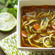 Crockpot Miso Vegetable Zoodle Soup Recipe Soups with vegetable broth, water, carrots, napa cabbage, minced garlic, minced ginger, white miso, salt, greens, zucchini