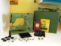1955 Vintage Elna Supermatic Free Arm Sewing Machine w Case Manual Accessories