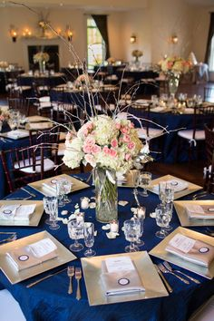 Love the table set-up and layout! Navy and Pink Wedding | Elegant and Sparkly Fall Wedding in Spotsylvania Virgina: Stephanie + James. Florals by Jan Williams