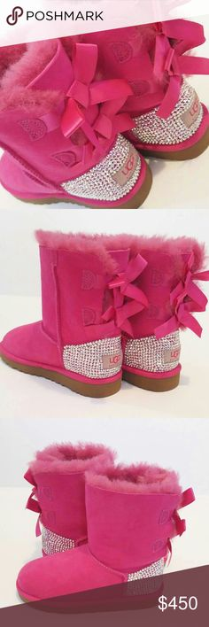 Girls pink bailey bow ugg boots with swarovski Brand new in box Bling bailey bow uggs for girls Designed by mysrlf owner of allure designz llc Each swsrovski crystal is hand placed one by one with a 2 part mixing agent that is permenant UGG Shoes Boots