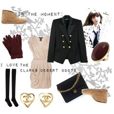"""In the moment"" featuring Clarks Desert Boots by mrsjonesss on Polyvore"