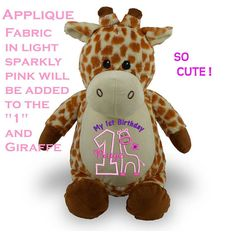 Look at this cute Giraffe personalized for the birthday baby girl turning one year. A soft plush stuffed animal with babys own custom name. Such a sweet toy. Perfect for the birthday party and will be loved by your little one. Measures a generous 16 - 17 and completely washable. These soft plush animals are great keepsakes and last. May be made for a boy or girl. Please look at 1st and 2nd photos in this listing. Colors, fonts will be exactly as shown. Fabric will match nice to the…