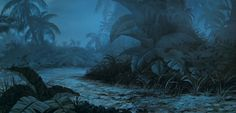 """Background night painting from """"The Jungle Book"""""""