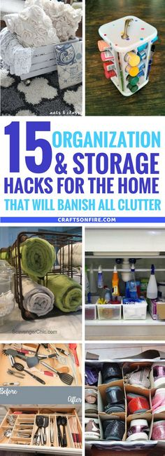 Genius home organization and storage hacks that will save your sanity! You'll absolutely LOVE these amazing organization ideas that will organize every room in your home for next to nothing. They're so easy to do yourself and also includes dollar store crafts and repurposing projects. #organization #storage #recycling