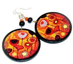 Autumn flowers decoupage earrings circle orange by SzaraLotka, $12.00