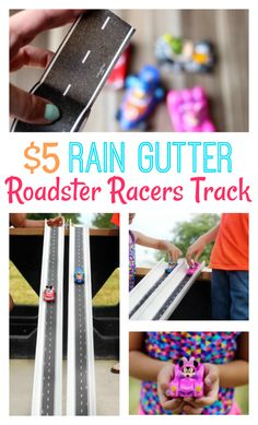 Homemade Mickey and the Roadsters Race Track made from a rain gutter! AD