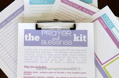 The Prayer and Blessings Kit - brights - 4 documents - INSTANT DOWNLOAD