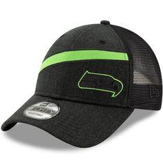 b961ef6e3 Men s Seattle Seahawks New Era Heathered Black Black Label Scale Trucker  9FORTY Snapback Adjustable Hat