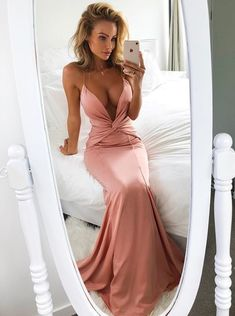 Mermaid Deep V-Neck Sweep Train Blush Prom Dress,Long prom dress, simple party #prom #promdress #cheapdress #sexydress #fashiondress #homecomingdress #formaldress #partydress
