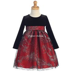 bd1681c249 Red Stretch Velvet Dress w/ Sparkle Tulle Skirt This gorgeous velvet bodice  w/ sparkling tulle dress goes great with its matching sister dress Style:  Long ...