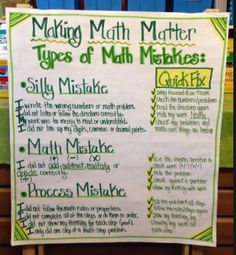 MAKING MATH MATTER...I guess I should pin my own anchor chart....Teaching students how to identify the types of math mistakes they have made, and how to fix them.  This is an extension of my 'Making Math Matter' chart.