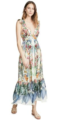 Carolina K Penelope Printed Silk Maxi Dress In Scared Garden Blue Designer Swimwear, India Fashion, Fitted Bodice, Ethical Fashion, Flutter Sleeve, Vintage Dresses, Floral Prints, Silk, My Style