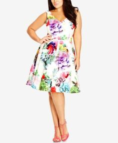 City Chic Plus Size Printed Fit & Flare Dress | macys.com