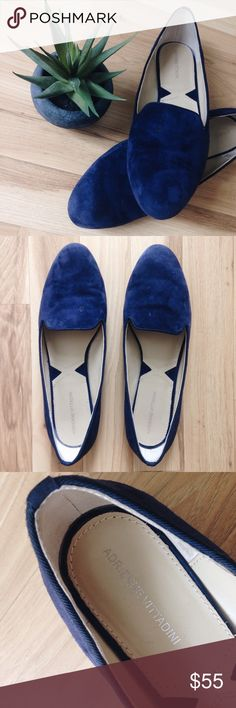 Blue Suede and Leather Flats Royal navy suede flats. Leather upper. Corded trim. Light wear on the soles. No visible wear, impression, or staining on the inside. All wear is pictured: back of right heel and a few water spots on the tops. Adrienne Vittadini Shoes Flats & Loafers