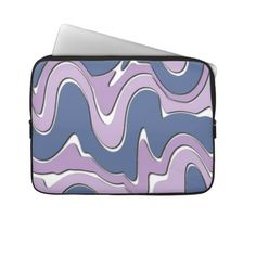 Unique, trendy and pretty laptop protection sleeve. Beautiful pastel violet purple and blue colored wavy zigzag lines and stripes pattern. Vintage retro style swirls or waves motif design for the hip fashionista or diva, the fashion trend setter, or vintage nouveau art deco decor lover. Cute and fun birthday gift or Christmas present. Elegant, classy, chic, original and cool protective laptop sleeve for the girly girl or the professional and sophisticated business man or woman.
