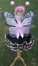 Monarch Butterfly Pink/Back Set Birthday Dance Costume Halloween Girls 2-5T