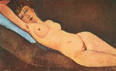 Amedeo Modigliani,  Reclining Nude with Blue Cushion Fine Art Reproduction Oil Painting