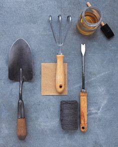 Restoring garden tools: to renew splintery, dry, or cracked wood, sand the handles with medium sandpaper; wipe clean. With a rag or disposable brush, coat wood with a mix of equal parts linseed oil and turpentine. Let dry overnight; then buff the handle with fine steel wool to remove excess oil. To reclaim very worn wood, brush and buff a second time.