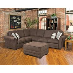 Sofa - Serta Upholstery Sectional - Fabric: Radar Brown / EuphSprna / Jinx Spring