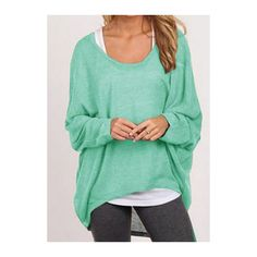 RoseWe Scoop Neck Batwing Sleeve Asymmetric Sweater (€17) ❤ liked on Polyvore featuring tops, sweaters, green, green top, long sleeve pullover, long sleeve tops, asymmetrical sweater e batwing sleeve top