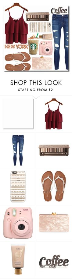 """""""New York Starbucks Bae"""" by sweetcheeksgurl8 ❤ liked on Polyvore featuring J Brand, Urban Decay, Casetify, Aéropostale, Fujifilm, Edie Parker, tarte, Rustic Arrow, Dot & Bo and Summer"""