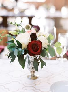 Burgundy and blush pink rose centerpiece with soft green eucalyptus by La Rue Fl. Burgundy and blush pink rose centerpiece with soft green eucalyptus by La Rue Floral, Photography By Nicole Clarey Photo. Eucalyptus Centerpiece, Rose Centerpieces, Rustic Wedding Centerpieces, Wedding Arrangements, Floral Arrangements, Wedding Decorations, Burgundy Floral Centerpieces, Wedding Ideas, Centrepieces