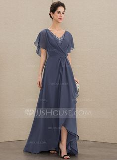 A-Line V-neck Asymmetrical Chiffon Mother of the Bride Dress With Beading Sequins - Mother of the Bride Dresses - JJ's House Mother Of The Bride Dresses Long, Mother Of Bride Outfits, Mothers Dresses, Mob Dresses, Bridesmaid Dresses, Wedding Dresses, Vestidos Fashion, Fashion Dresses, Robes D'occasion