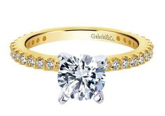 Yellow gold solitaire diamond engagement ring.  Gabriel ER4124Y44JJ #seneedhamjewelers #loganutah