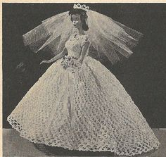 Doll Clothes PATTERN Crochet Bridal Gown PATTERN by BlondiesSpot