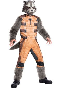 OFF or FREE SHIP -Boys Halloween Costume-Rocket Raccoon Deluxe Kids Costume Large : Your child can look like their favorite character from the new Guardians of the Galaxy movie from Marvel! Jumpsuit and mask. Buy Costumes, Costumes For Sale, Costume Shop, Adult Costumes, Space Costumes, Marvel Costumes, Movie Costumes, Raccoon Halloween, Raccoon Costume