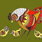 Chicken with Chicks Pop Art Zen Doodle Color by wildwildwest